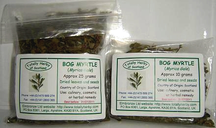 Dried Bog Myrtle packs
